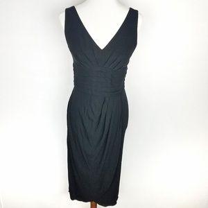 Kay Unger NY Midi V-Neck Sheath Dress Black